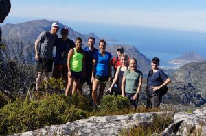 Group of hikers on 12 Apostles route on Table Mountain